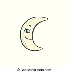 Hand drawn moon for night and sleeping themes doodle vector illustration isolated.