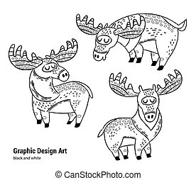 Hand drawn moose collection in outline.