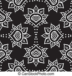 hand drawn moroccan seamless fabric vector design - detailed...