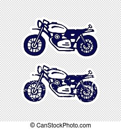 Hand-drawn motorcycle sticker design. Flat and textured set