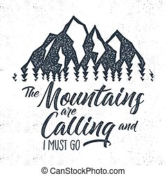 Hand drawn mountain advventure label. calling illustration. ...