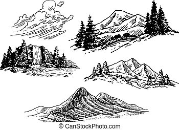 A set of hand-drawn mountains, a waterfall and clouds.