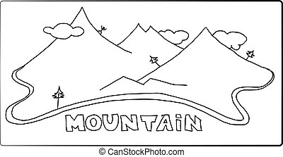 Hand drawn mountains vector. A black-white image of the mountains with pine trees and man