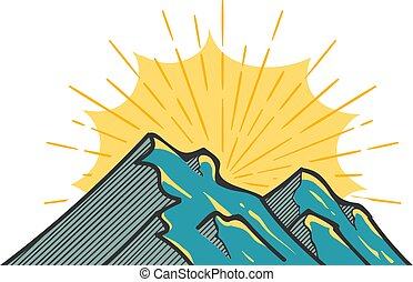 Hand drawn mountains vector illustration