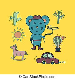 Hand-drawn mouse the cowboy with a lasso and in a hat.
