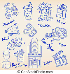 Hand Drawn Movie Icons Set