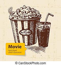 Hand drawn movie illustration. Sketch background