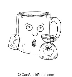 Hand drawn mug and candy. Mug with a face. Vector illustration in sketch style.