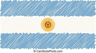 Hand Drawn National Flag Of Argentina Isolated On A White Background. Vector Sketch Style Illustration.