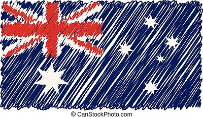 Hand Drawn National Flag Of Australia Isolated On A White Background. Vector Sketch Style Illustration.