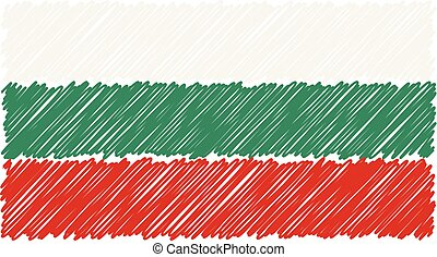 Hand Drawn National Flag Of Bulgaria Isolated On A White Background. Vector Sketch Style Illustration.