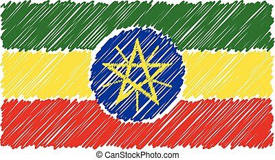 Hand Drawn National Flag Of Ethiopia Isolated On A White Background. Vector Sketch Style Illustration.