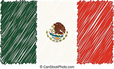 Hand Drawn National Flag Of Mexico Isolated On A White Background. Vector Sketch Style Illustration.