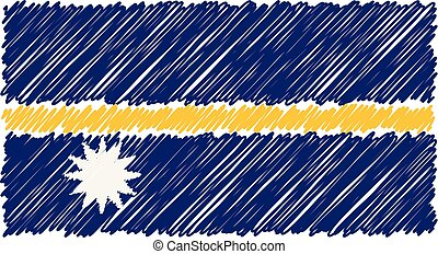 Hand Drawn National Flag Of Nauru Isolated On A White Background. Vector Sketch Style Illustration.
