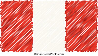 Hand Drawn National Flag Of Peru Isolated On A White Background. Vector Sketch Style Illustration.