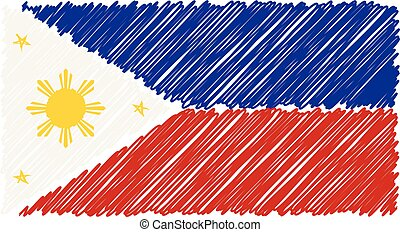 Hand Drawn National Flag Of Phillippines Isolated On A White Background. Vector Sketch Style Illustration.
