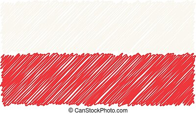 Hand Drawn National Flag Of Poland Isolated On A White Background. Vector Sketch Style Illustration.