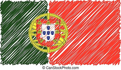 Hand Drawn National Flag Of Portugal Isolated On A White Background. Vector Sketch Style Illustration.
