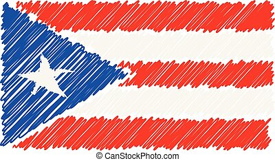 Hand Drawn National Flag Of Puerto Rico Isolated On A White Background. Vector Sketch Style Illustration.