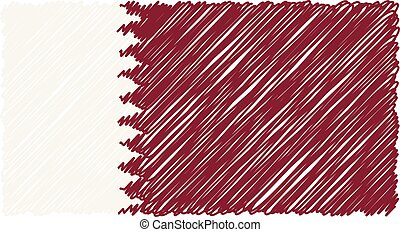 Hand Drawn National Flag Of Qatar Isolated On A White Background. Vector Sketch Style Illustration.