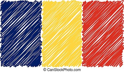 Hand Drawn National Flag Of Romania Isolated On A White Background. Vector Sketch Style Illustration.