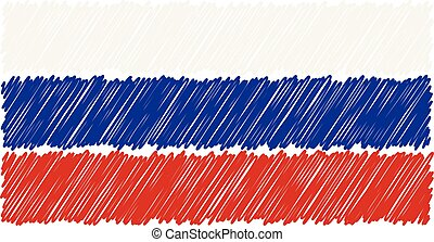 Hand Drawn National Flag Of Russia Isolated On A White Background. Vector Sketch Style Illustration.