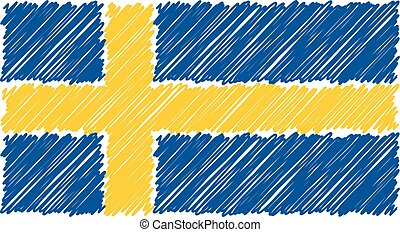 Hand Drawn National Flag Of Sweden Isolated On A White Background. Vector Sketch Style Illustration.