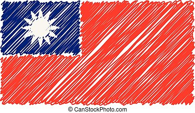 Hand Drawn National Flag Of Taiwan Isolated On A White Background. Vector Sketch Style Illustration.