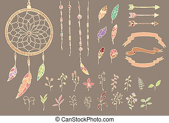Hand drawn native american feathers, dream catcher, beads, arrows and flowers
