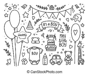 hand drawn new born set of design elements. Vector illustration. doodle baby boy collection. Kid birthday set with balls, flags, toys, bottle, cake, twigs, hearts, clothes, lettering. Its a boy