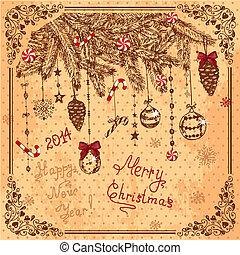 hand drawn new year card