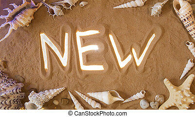 hand-drawn, novo, símbolo, em, a, sand., praia, experiência., vista superior