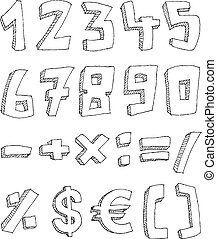 Hand drawn numbers and math signs - Vector hand drawn...