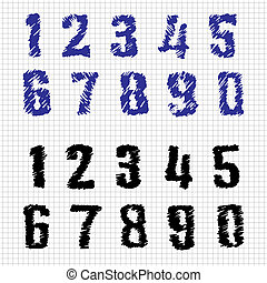 Hand-drawn Numbers. Doodles. Set 1. Vector Sketch