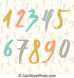 Hand drawn numbers made by brush and seamless pattern with numbers. Modern Brushed. Education. Vector Illustration.