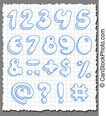 Hand-drawn numbers set.