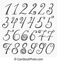 Hand drawn numbers. Vector sketch illustration isolated on white background.