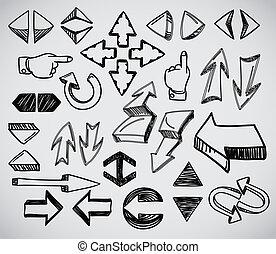hand-drawn, nyílvesszö, gyűjtés