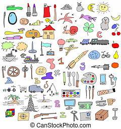 hand drawn objects doodles