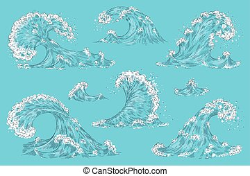 Hand drawn ocean wave. Vintage cartoon storm waves, tide water splash isolated elements. Vector swirl tsunami set