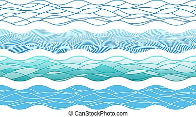 Hand drawn ocean waves, outline endless borders elements