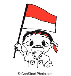 Hand drawn of a cartoon illustration of a boy standing with red white attribute as symbol of the Indonesian flag