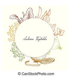 Hand Drawn of Autumn Vegetables and Herbs - Autumn Fruits,...