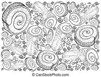 Hand Drawn of Christmas Cake or Yule Log Cake Background