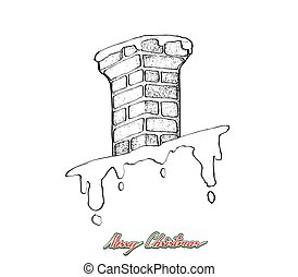 Hand Drawn of Christmas Chimney on The Roof