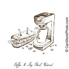 Hand Drawn of Espresso Coffee Machine with Baguette Sandwich