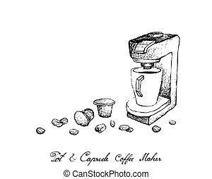 Hand Drawn of Espresso Coffee Machine with Capsule