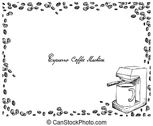 Hand Drawn of Espresso Coffee Machine with Coffee Beans