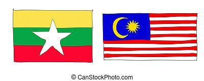 hand drawn of flag of ASEAN Economic Community, AEC