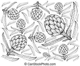 Hand Drawn of Fresh Artichoke Plants Background